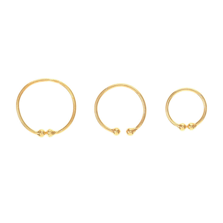 3 Pack Gold Clip On Body Hoops