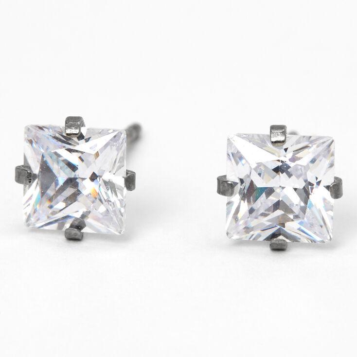 Clous d'oreilles carrés ornés de strass en zircon cubique d'imitation couleurs argentée et titanée - 6mm,