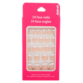 French Manicure with Glitter Accent Square Press On Faux Nail Set - 24 Pack,