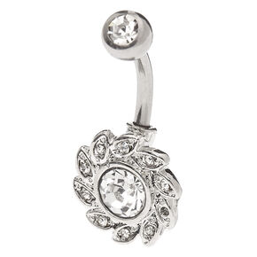 Silver Titanium 14G Crystal Wreath Belly Ring,