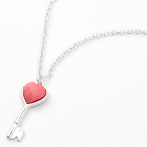Claire's Club Silver Heart Key Pendant Necklace,