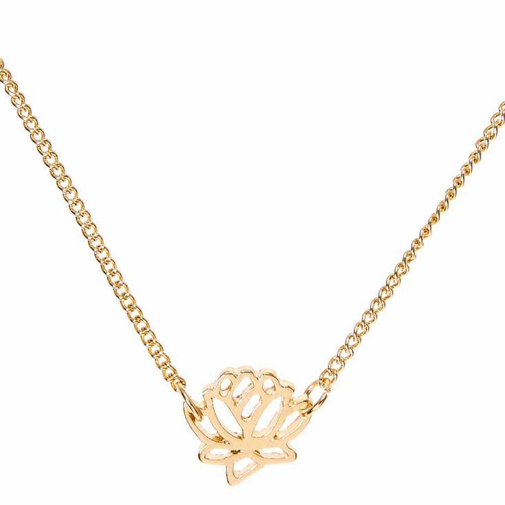 Gold Tone Lotus Pendant Necklace Claires Us
