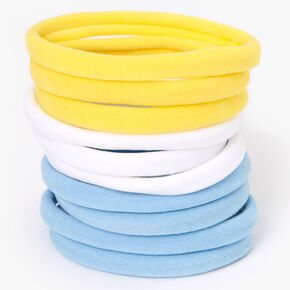 Blue, White, & Yellow Rolled Hair Ties - 10 Pack,