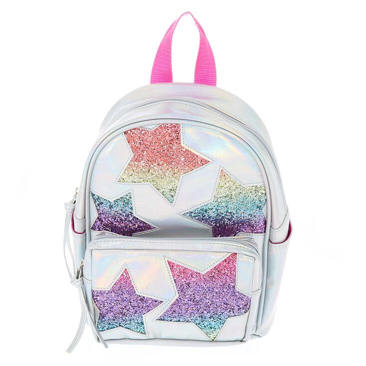 6ad35e2a39f6 Rainbow Glitter Star Mini Backpack - Silver