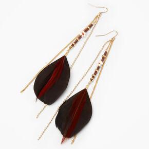 Pendantes à plumes perlées marron et noires 15cm couleur dorée,