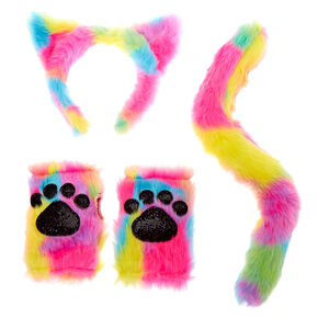 Furry Rainbow Cat Costume Set- 3 Pack,