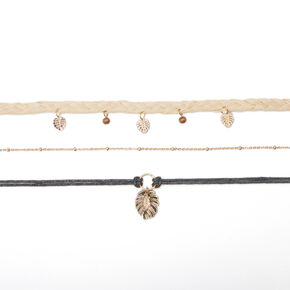 Palm Leaf Boho Choker Necklaces - 3 Pack,