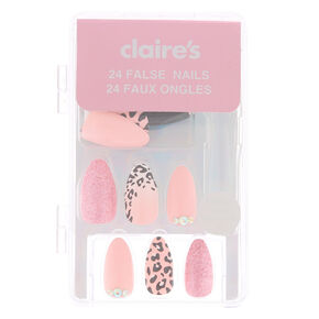 Leopard Bling Stiletto Faux Nail Set - Pink, 24 Pack,