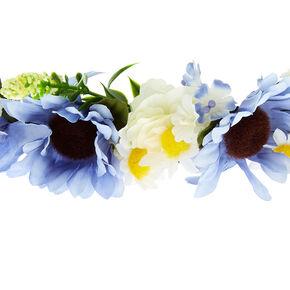 Mixed Daisy Flower Crown Headwrap - Blue,