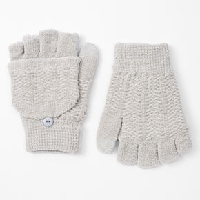 Chenille Fingerless Gloves With Mitten Flap - Grey,