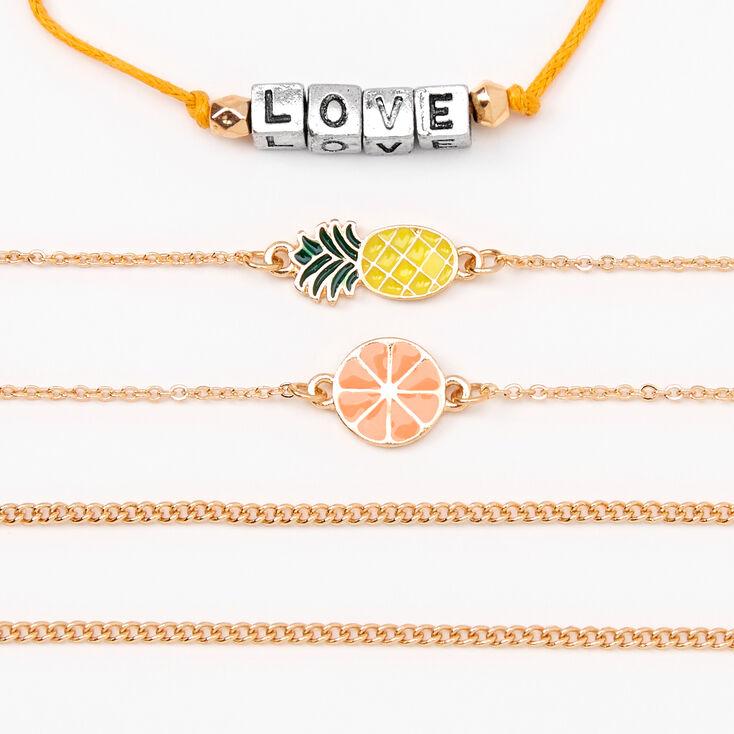 Gold Summer Fruits Chain Bracelets - 5 Pack,