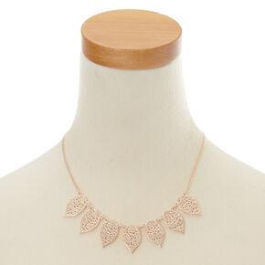 Rose Gold Filigree Leaf Jewellery Set,
