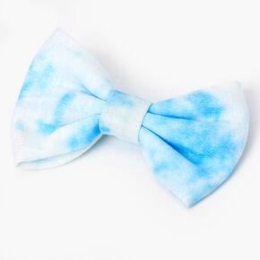Tie Dye Hair Bow Clip - Light Blue,
