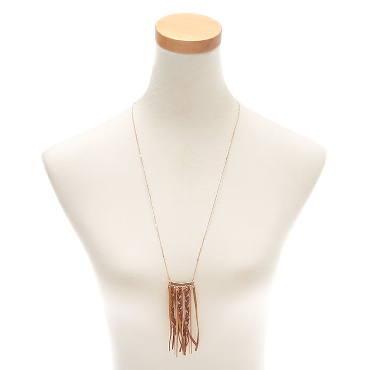 Gold Braided Suede Long Pendant Necklace - Brown,