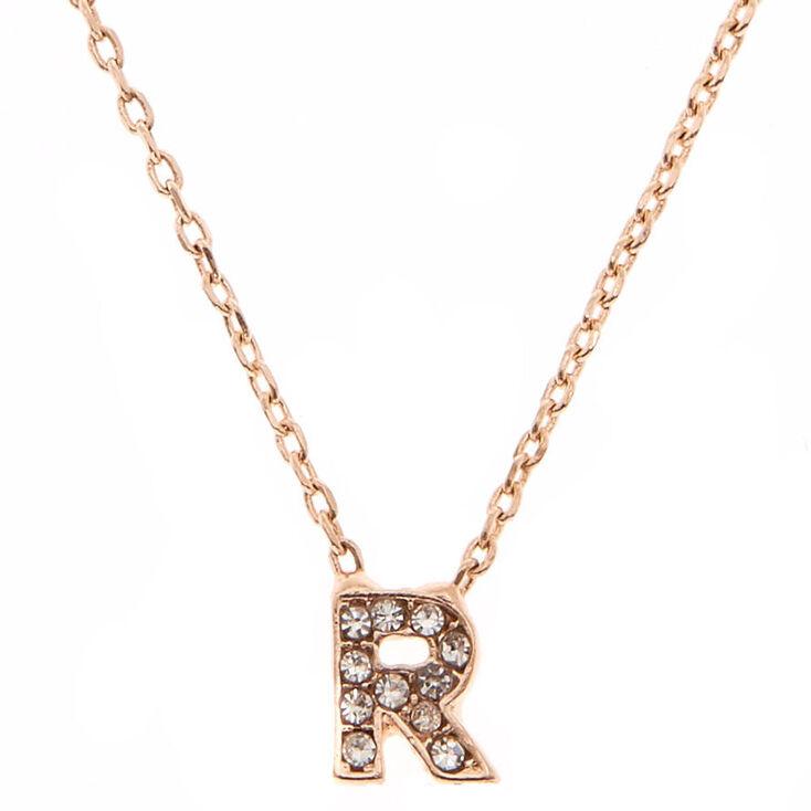 Rose Gold Embellished Initial Pendant Necklace - R,