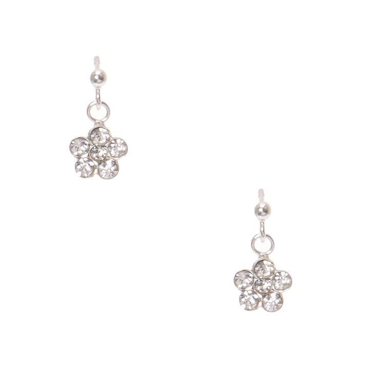 925 Sterling Silver Crystal Daisy Drop Earrings,