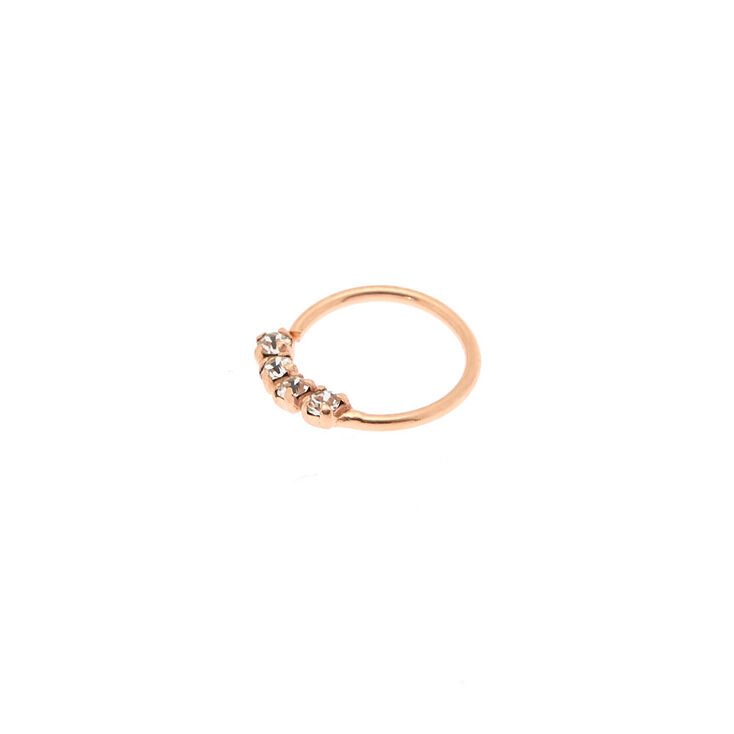 Sterling Silver Rose Gold 22g Embellished Stone Nose Ring Claire S