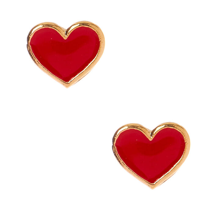 Gold Heart Stud Earrings - Red,