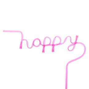 Paille avec inscription «Happy» - Rose,