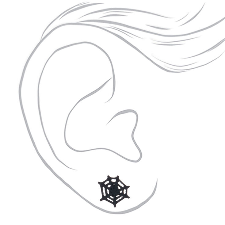 Spiderweb Stud Earrings - Black,