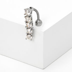 Silver 14G Crystal Top Down Belly Ring,