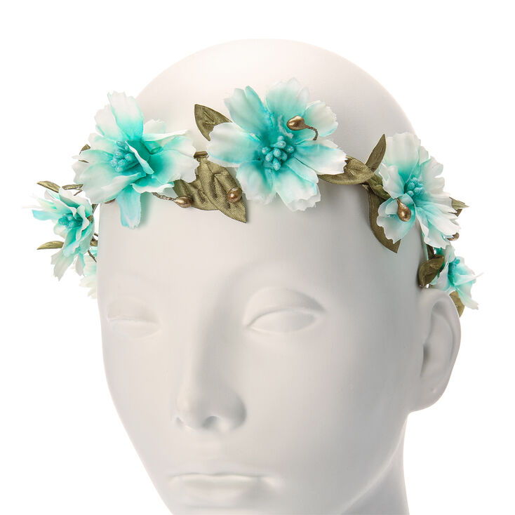 Mint Ombre Flower Crown with Crocheted Ribbons,