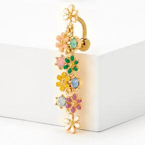 Piercing de nombril inversé fleur arc-en-ciel 1,6mm couleur dorée,