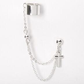 Boucle d'oreille à chaîne avec manchette croix couleur argentée,