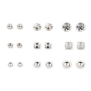Silver and Crystal Shapes Stud Earrings Set of 9,