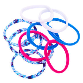 Tie Dye Retro Rolled Hair Bobbles - Blue, 10 Pack,