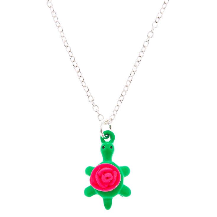 Turtle Rose Pendant Necklace,