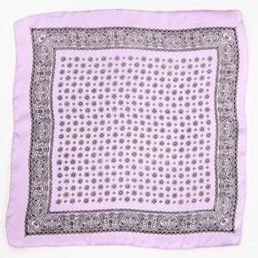 Bandeau bandana soyeux imprimé floral et cachemire - Lilas,