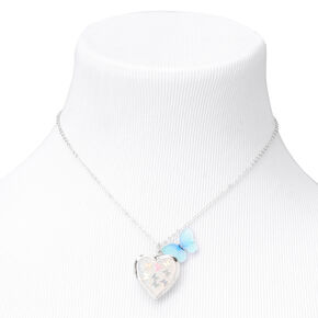 Claire's Club Iridescent Butterfly Locket Neclace - Silver,