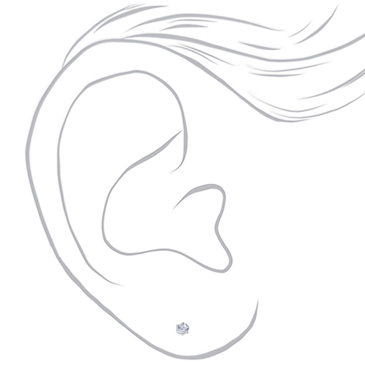 Silver Cubic Zirconia Round Magnetic Stud Earrings - 2MM,