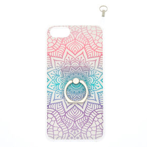 Rainbow Mandala Ring Stand with Lanyard Phone Case - Fits iPhone 6/7/8/SE,