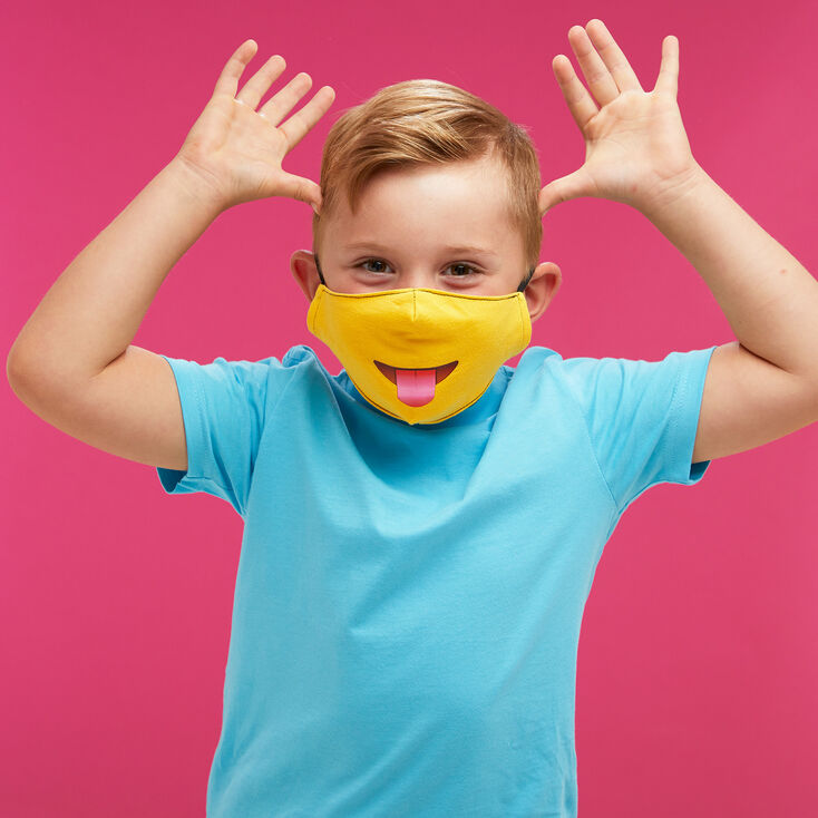 Cotton Yellow Tongue Emoji Face Mask - Child Medium/Large,