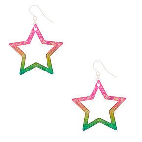 """1.5"""" Rainbow Star Drop Earrings,"""