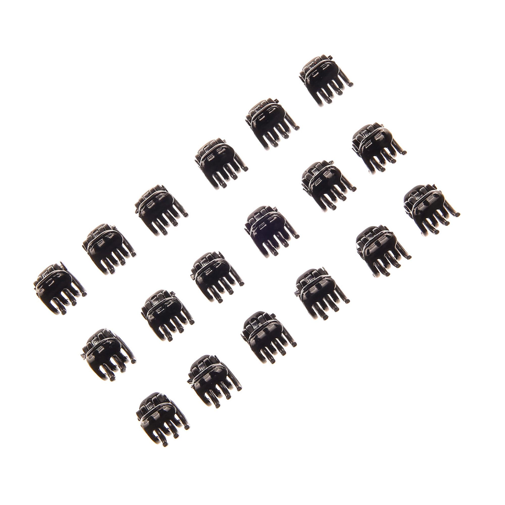 BLACK /& WHITE MINI HAIR CLAW CLAMPS~HAIR CLIPS~HAIR GRIPS~BULLDOG CLIPS X 12 .