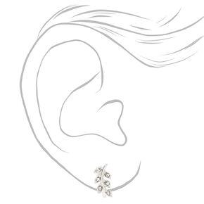 Crystal Leaves Clip On Stud Earrings - Silver,