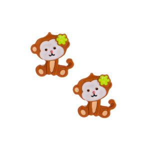 Monkey Business Stud Earrings - Brown,