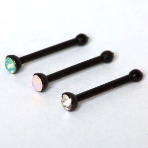 Black 20G Blue & Pink Crystal Nose Studs - 3 Pack,