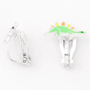 Silver Dinosaur Clip On Stud Earrings - Green,