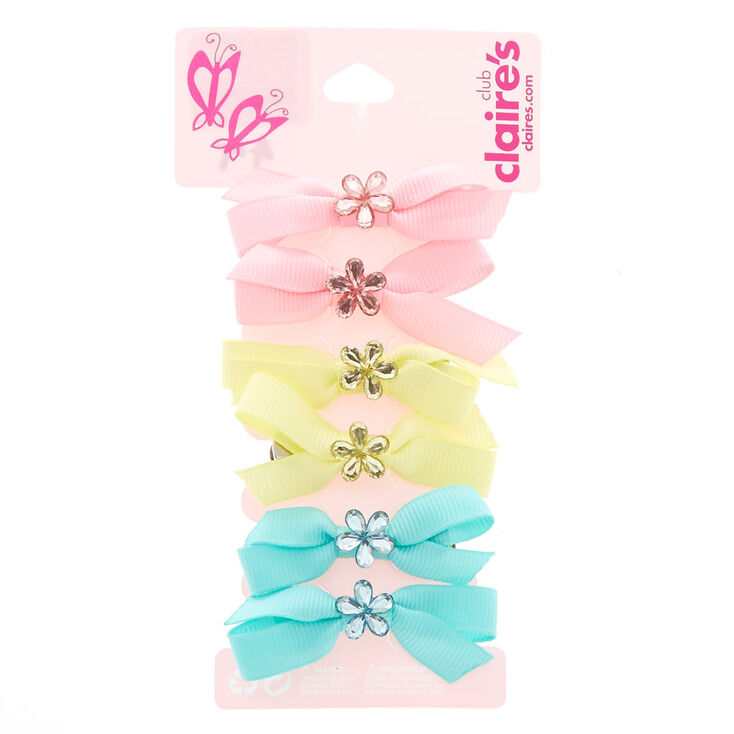 Claire's Club Mini Pastel Flower Bow Hair Clips - 6 Pack,