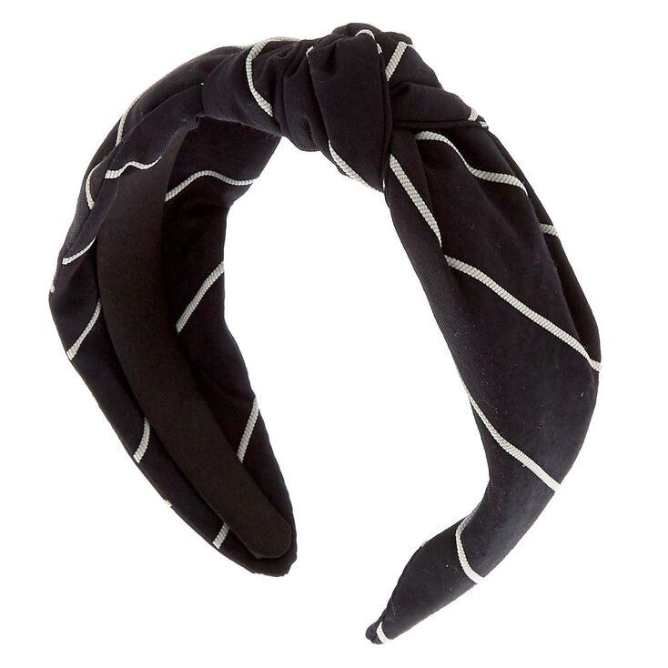 Striped Knotted Headband - Black,