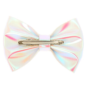 Iridescent Mini Hair Bow Clip - White,