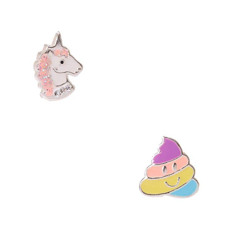 Sterling Silver Unicorn & Rainbow Poop Emoji Stud Earrings,