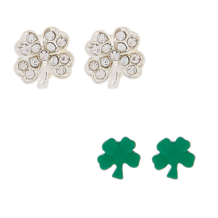 Silver Shamrock Stud Earrings - 2 Pack,