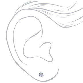 Silver Cubic Zirconia 4MM Round Magnetic Stud Earrings,