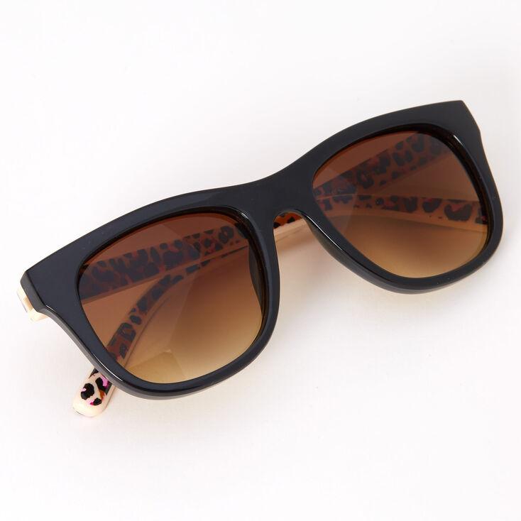 Retro Pink Leopard Sunglasses - Black,