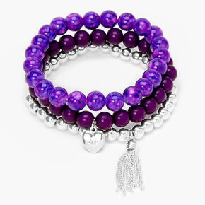 Heart Marble Beaded Stretch Bracelets - Purple, 3 Pack,